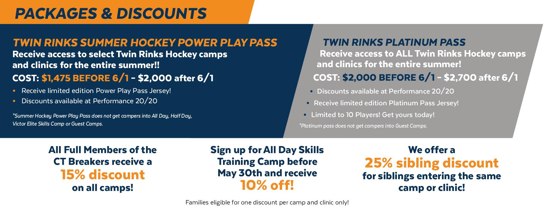 Twin Rinks Hockey Summer Camp Discounts