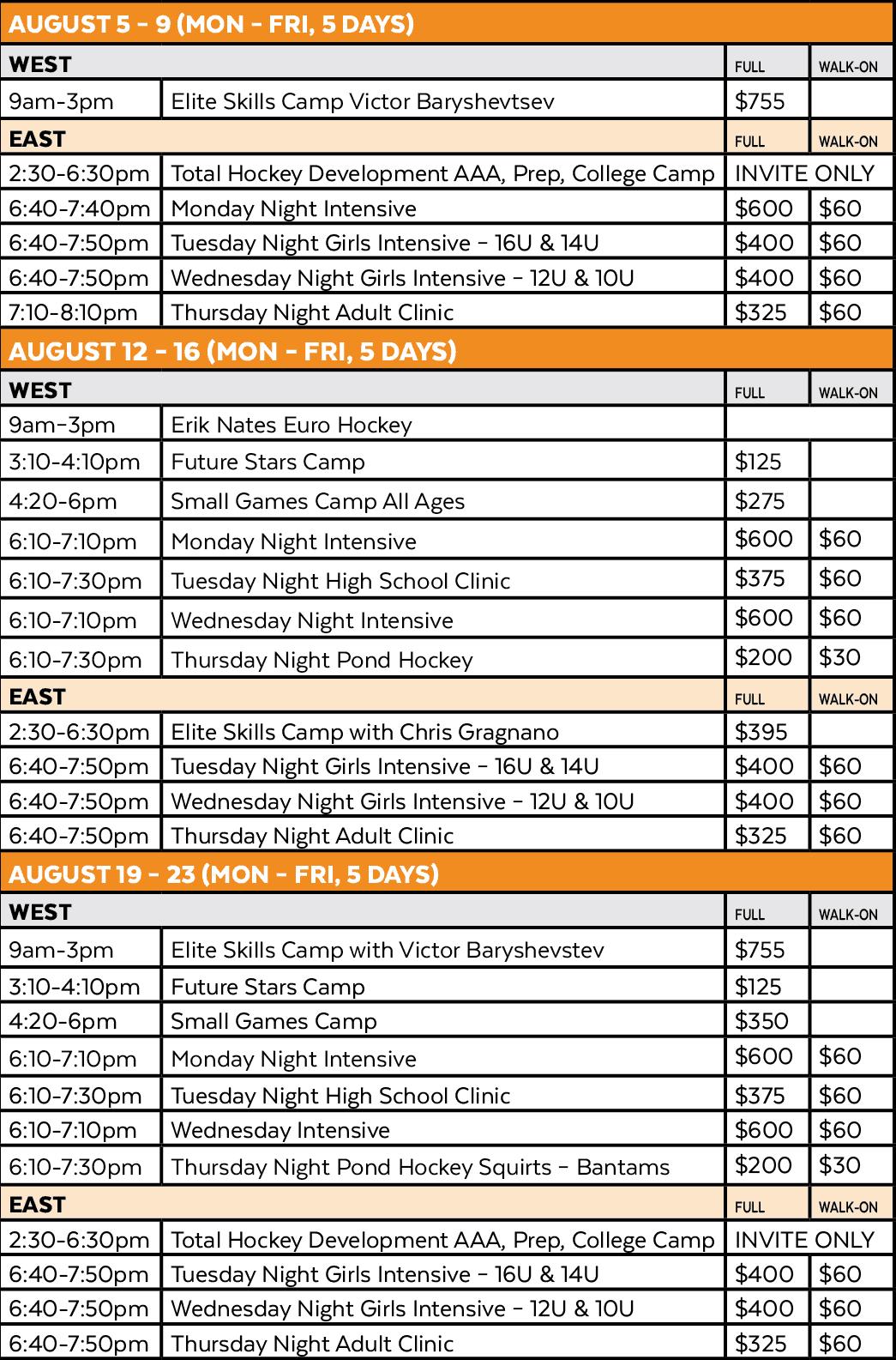 Twin Rinks Hockey Summer Camp Schedule